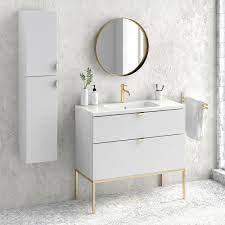 40 Modern Bathroom Vanity Cabinet Set Aspen Rhd White Wood Gold Handles And Legs Vanity Ceramic Top Sink On Sale Overstock 30978220