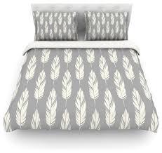amanda lane feathers gray cream gray pattern duvet cover cotton queen contemporary