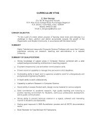 Sample Resume: Resume Format Assistant Professor Computer Science.