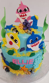 Beautiful Handmade 2 Tier Baby Shark Cake Toyspartiesconz