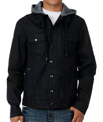 dravus evolution black waxed mens hooded jean jacket