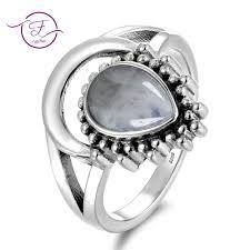 7x9MM Natural Moonstone Silver 925 Rings <b>New Design Fancy</b> ...