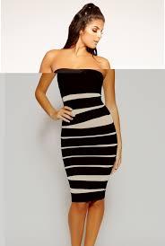 Iva - Black & Nude Mesh Strapless Bandage Dress   Bandag Dresses   kertwow