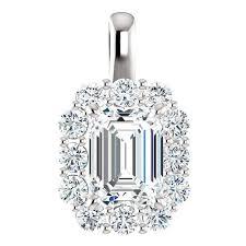 1 50 carat emerald cut forever one moissanite diamond halo pendant