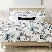 zebra and cheetah printed organic duvet cover shams