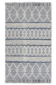 blue denim rug with triangular patterns