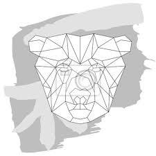Adesivo Orso Icona Testa Triangolare Disegno Geometrico Linea Di Tendenza