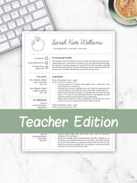 Teacher Resume Template For Word Pages Teacher Template Teacher Cv Resume For Teacher Elementary Template Teacher Instant Download