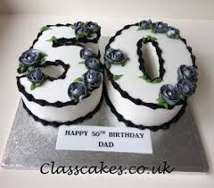 Number 50 Birthday Cake With Silver Roses Zo Bday Birthday Cakes