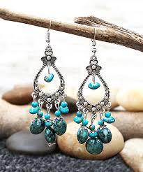 teal crystal silvertone antiqued clover chandelier earrings