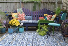view in gallery wood patio painted with stencils area rug look