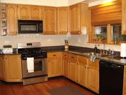 Fascinating L Shaped Kitchen Cabinet With Oak Wood Made And Dark