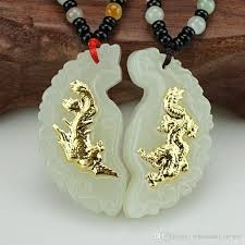 dragon and phoenix natual hetian white jade solid pure gold