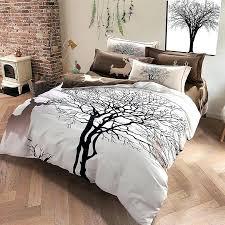 tree branch duvet covers grey color tree deer king queen size bedding set winter bed set