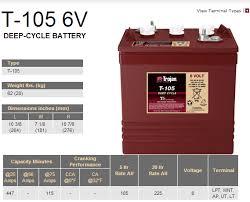 duffy boat battery trojan t 105 6 volt battery specs