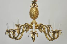beautiful solid brass pineapple chandelier made in italy in the 1970s heavy brass light