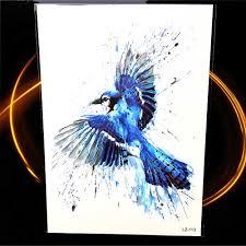 акварель голубая сойка товары для птиц временные татуировки наклейки колибри для