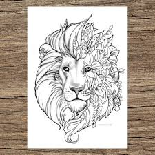 Visit dltk's lions crafts and printables. Fantasy Lion Printable Adult Coloring Page From Favoreads Etsy