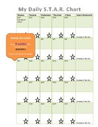 Daily Star Chart Calendar For 2014 15 School Year