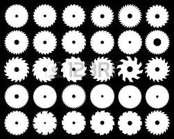 saw blade vector. white silhouettes of different circular saw blades, vector blade