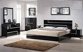 Lacquer bedroom furniture Grey Wood Image Unavailable Amazoncom Amazoncom Modern Barcelona Piece Bedroom Set California King