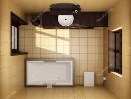 Japanischen Stil Badezimmer Mit Braunen Fliesen Stockfoto