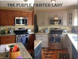 painted kitchen cabinets before and after. Brilliant Before Painting Kitchen Cabinets Before After Cabinet My Customer The  Purple Painted Lady Chalk Paint Refinishing Intended Painted Kitchen Cabinets Before And After