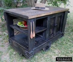 custom made distressed black modern rustic kitchen island cart with walnut stained top