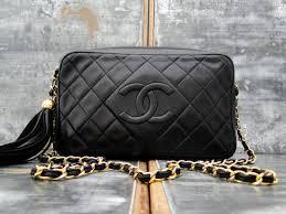 chanel vintage bag. chanel vintage black classic camera bag tassel