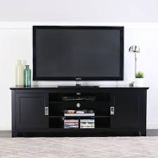 70 inch black tv stand. Black Wood TV Stand With Sliding Doors In 70 Inch Black Tv Stand Overstockcom