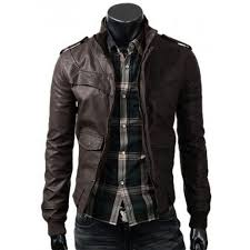 dark brown mens slim fitted leather jacket