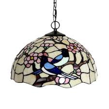 red pink stained art glass pendant lamp