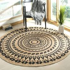 round jute rug 8 hand woven natural fiber black 8x10