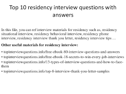 top residency interview questions answers