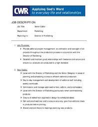 Managing Editor Job Description Impressive SeniorEditor By CWR Issuu