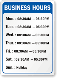 Hours Of Operation Template Free Business Hours Signs