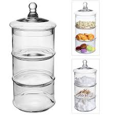 Decorative Glass Jars With Lids Amazon MyGift 100 Tier Stacking Apothecary Jars Round Glass 97