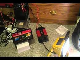 12v power inverter connected to a battery charger running a 500 watt 12v power inverter connected to a battery charger running a 500 watt appliance