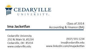 Business Card Cedarville University
