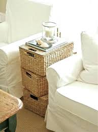 basket coffee table stacked basket storage side table with baskets wicker beach decor under coffee table storage baskets