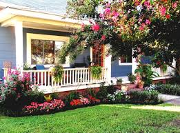 inspiring red rose garden in front yard for a residential home garden
