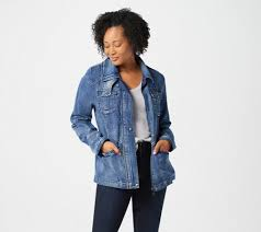 Sam Edelman Coat Size Chart Sam Edelman Denim Jacket With Snap Placket And Pockets Qvc Com