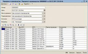 Отчет по производственной практике по специальности Прикладная  Табличная часть содержит поля такие как номер наименование продукции вид МПЗ МПЗ партия продукции количество и единица измерения