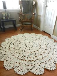 giant crochet doily rug floor off white ecru lace large round edge beautiful especially for