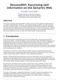 Pdf Resumerdf Expressing Skill Information On The Semantic Web
