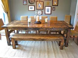 Barn Wooden Rectangle Farmhouse Dining Room Table With Bench Also