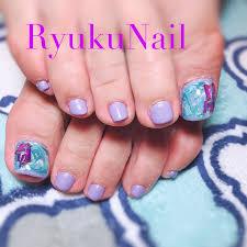 春夏フットシンプルシェル Ryukunailのネイルデザインno4280092