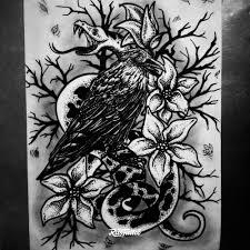 фото эскизы ворон и лилии в стиле авторский графика дотворк черно