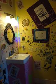 alice in wonderland bathroom at the rabbit hole wine tasting room in paso robles