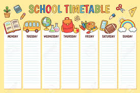 Timetable For Elementary School Weekly Planner Template With